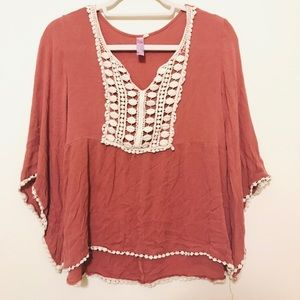alya Pink Lace Blouse Top Butterfly Sleeve